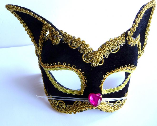 Petite Black velour Cat mask (glasses arms or ribbon fitting) (1)